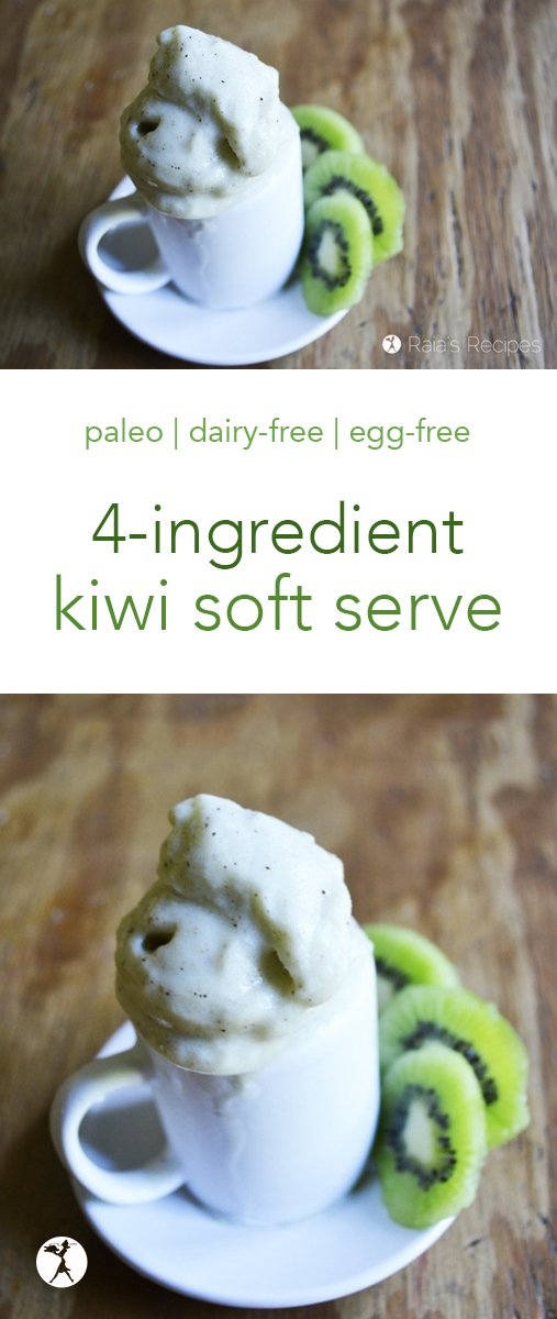 Ever since my family got our trusty blender, homemade soft serve has been a favorite meal treat. This easy, simple Honey Kiwi Soft Serve is a new favorite. Light and healthy, it's perfect for summer! #kiwi #softserve #nicecream #paleo #gapsdiet #glutenfree #dairyfree #eggfree