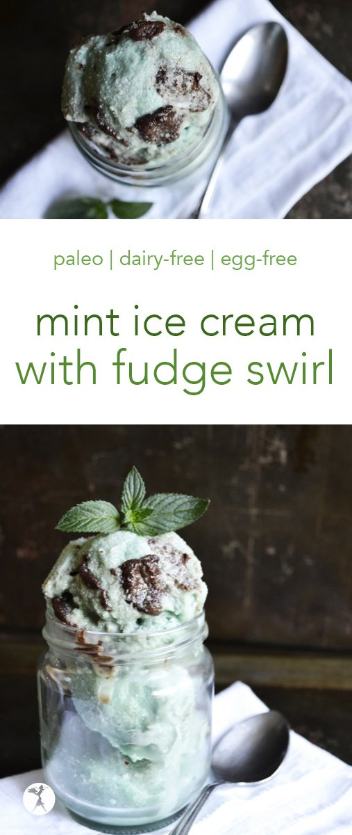 This no-churn, homemade Mint Ice Cream with Fudge Swirl is a tasty, healthy option to the store-bought version. Free of dairy, refined sugar, and food coloring, it also boasts a hidden health boost: spirulina! #icecream #mint #fudge #paleo #dairyfree #eggfree #refinedsugarfree #spirulina #coconutmilk #glutenfree