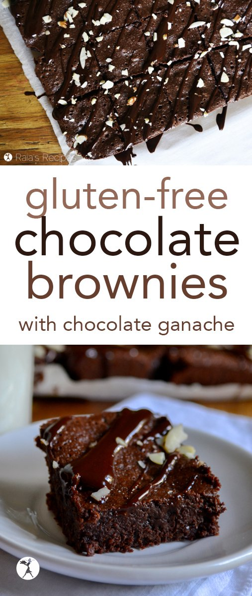 Easy and decadent, these Chocolate Brownies are the perfect gluten-free treat! Topped with chocolate ganache and slivered almonds, you'll be going back for seconds. #glutenfree #brownies #chocolate #dessert #glutenfreebaking
