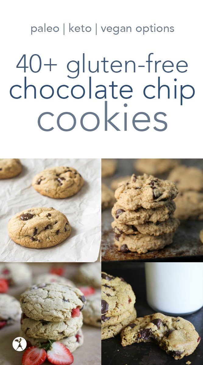 Over 40 delicious gluten-free chocolate chip cookies! Everything from old fashioned, to fancy, to peanut butter. Vegan, paleo, and keto options. #glutenfree #chocolatechip #chocolatechipcookies #cookies #paleo #vegan #keto