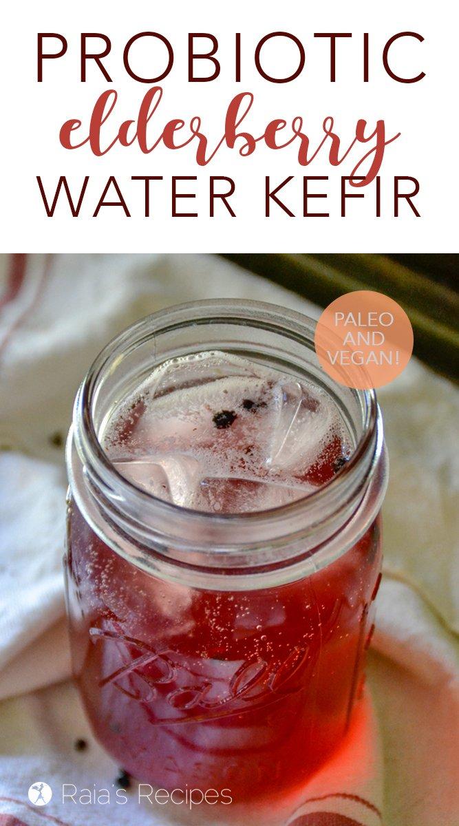 Probiotic Elderberry Water Kefir #probiotic #kefir #waterkefir #elderberries #guthealth #candida