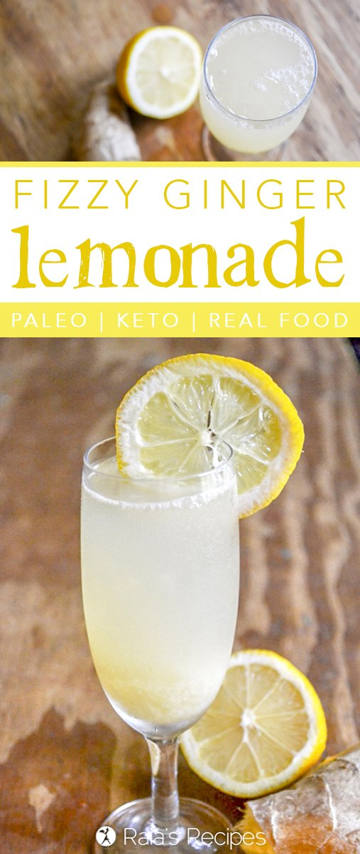 During a hot summer day, there's nothing quite as refreshing as a cool glass of lemonade. Relax and recharge with this delicious, health-infused paleo and keto-friendly Fizzy Ginger Lemonade. #drinks #ginger #lemon #lemonade #waterkefir #keto #realfood #paleo #glutenfree #refinedsugarfree