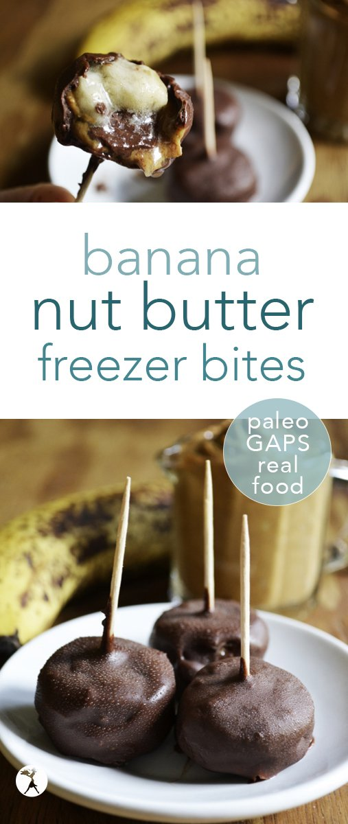 These banana nut butter bites are an easy, allergy-friendly treat that moms won't mind making their kiddos. With only a few ingredients, they're fun to make - and even more fun to devour!  #banana #nutbutter #nobake #snack #paleo #GAPSdiet #realfood #glutenfree