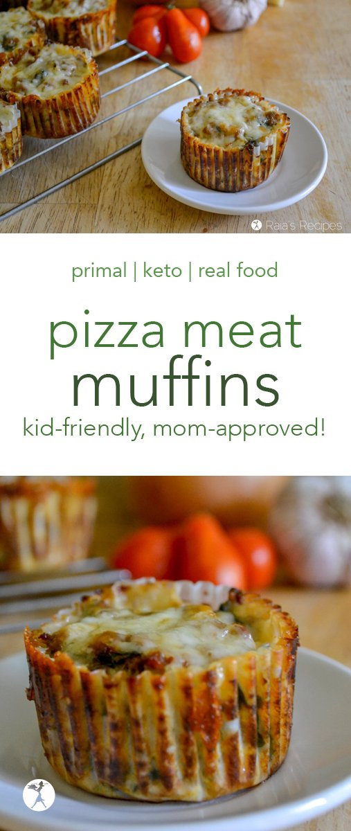 Moms need healthy, easy lunches to feed growing kiddos, and these little keto and low-carb Pizza Meat Muffins are a delicious lunch sure to be a kid pleaser! #pizza #meat #muffins #keto #lowcarb #primal #glutenfree #grainfree #sugarfree