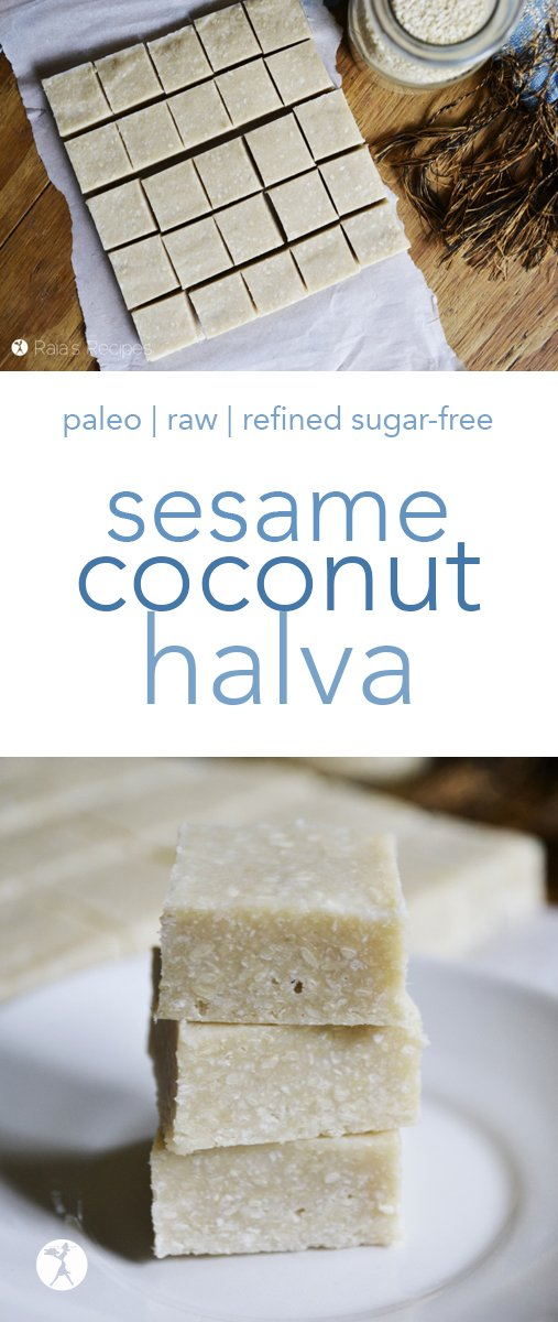 Easy and packed with nutrition, this raw, paleo Sesame Coconut Halva is a fun treat you'll enjoy again and again! #paleo #raw #glutenfree #refinedsugarfree #dairyfree #eggfree #halva #sesame #coconut #healthytreats