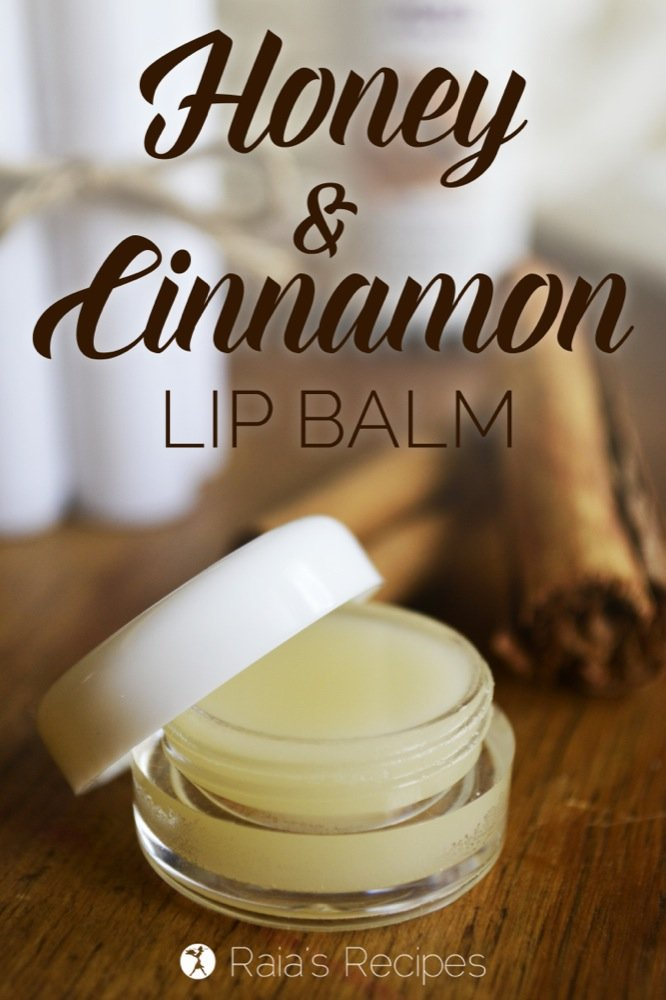 DIY Honey & Cinnamon Lip Balm. With only a few, non-toxic, ingredients, it's an easy, healthy alternative to store-bought lip balms.   RaiasRecipes.com