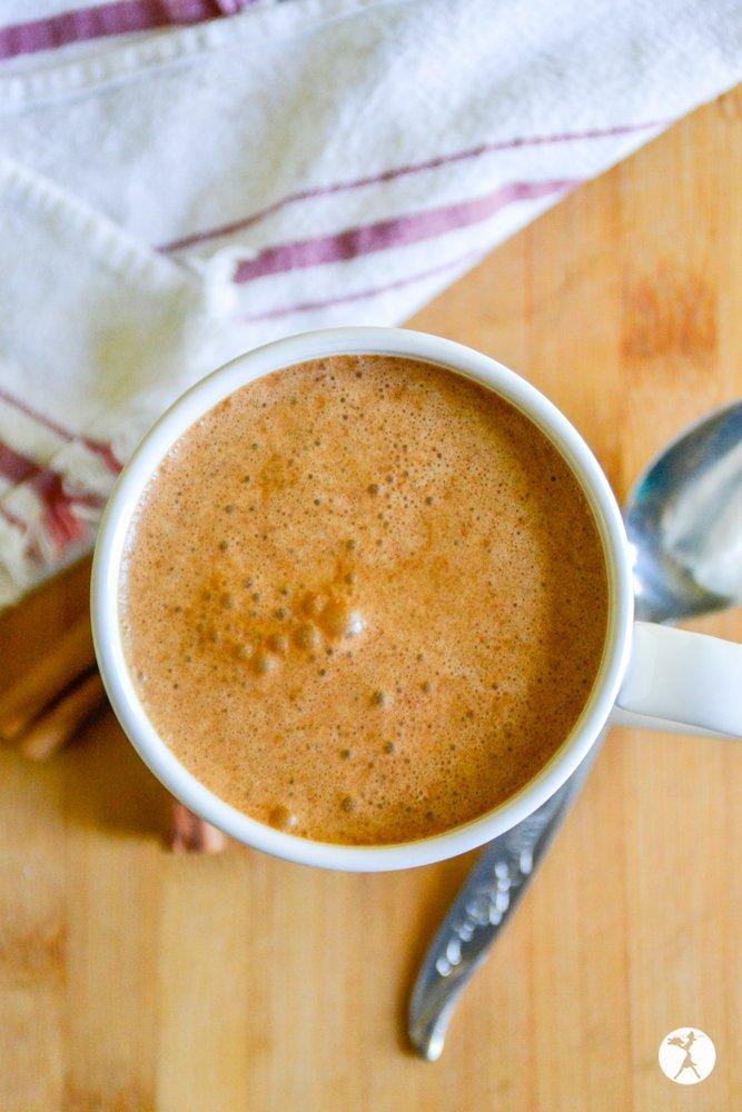 Top shot of paleo herbal pumpkin mocha from raiasrecipes.com