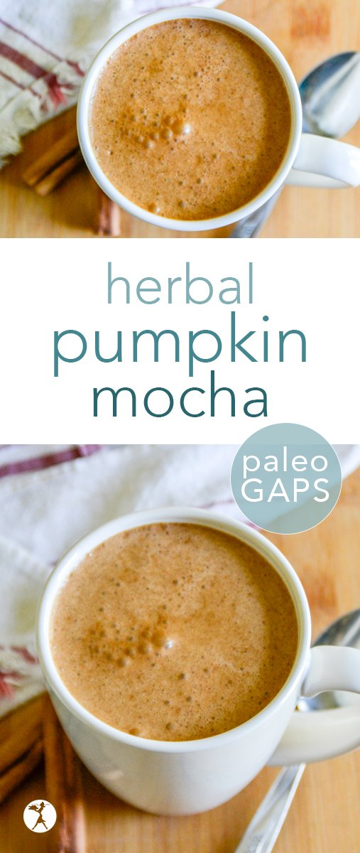 What better way to celebrate fall than with a delicious and easy to make paleo herbal pumpkin mocha? It's nourishing and full of comforting fall-inspired flavors. #paleo #glutenfree #herbalcoffee #coffee #pumpkin #mocha #drinks #nourishing #healthy #fallflavors #dairyfree #refinedsugarfree