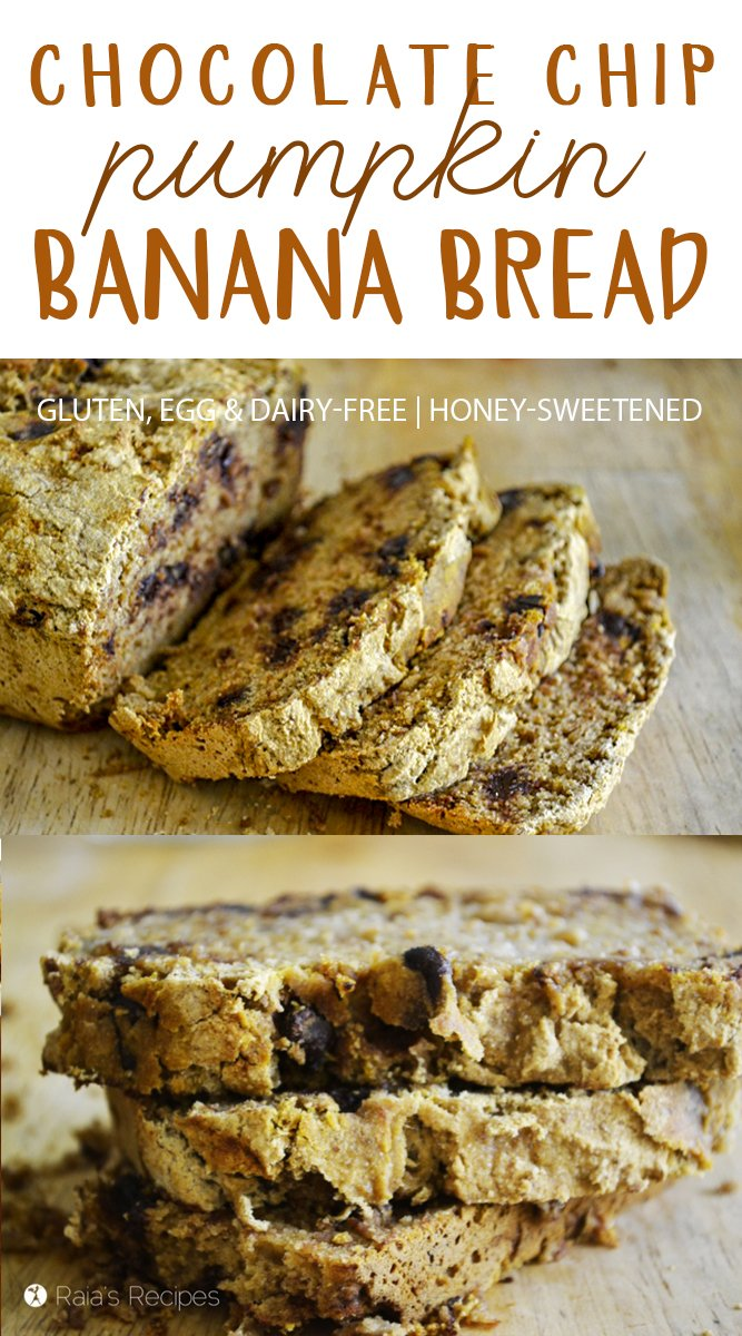 This easy, allergy-friendly Chocolate Chip Pumpkin Banana Bread is the perfect treat to satisfy your pumpkin and chocolate cravings! #bananabread #pumpkin #chocolatechip #glutenfree #eggfree #dairyfree #refinedsugarfree