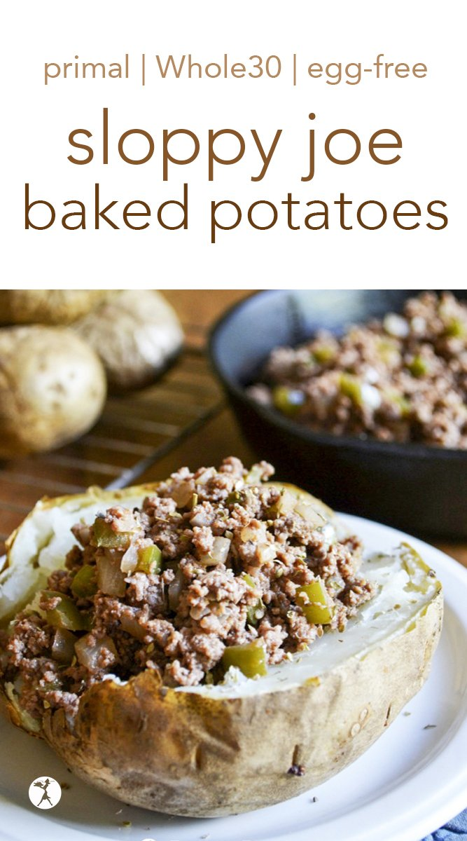 Easy and grain-free, these Sloppy Joe Baked Potatoes are a delicious twist on an American favorite dinner. #glutenfree #paleo #primal #whole30 #dinner #sloppyjoe #bakedpotato #potatoes #groundbeef #dairyfree #sugarfree #eggfree