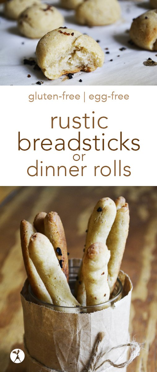The perfect side for soups and dipping, with a rustic crunchy crust and a delicate, melt-in-your-mouth inside, these Rustic Gluten-Free Breadsticks or Rolls are hard to not eat all at once! #glutenfree #eggfree #breadsticks #dinnerrolls #rolls #bread #side