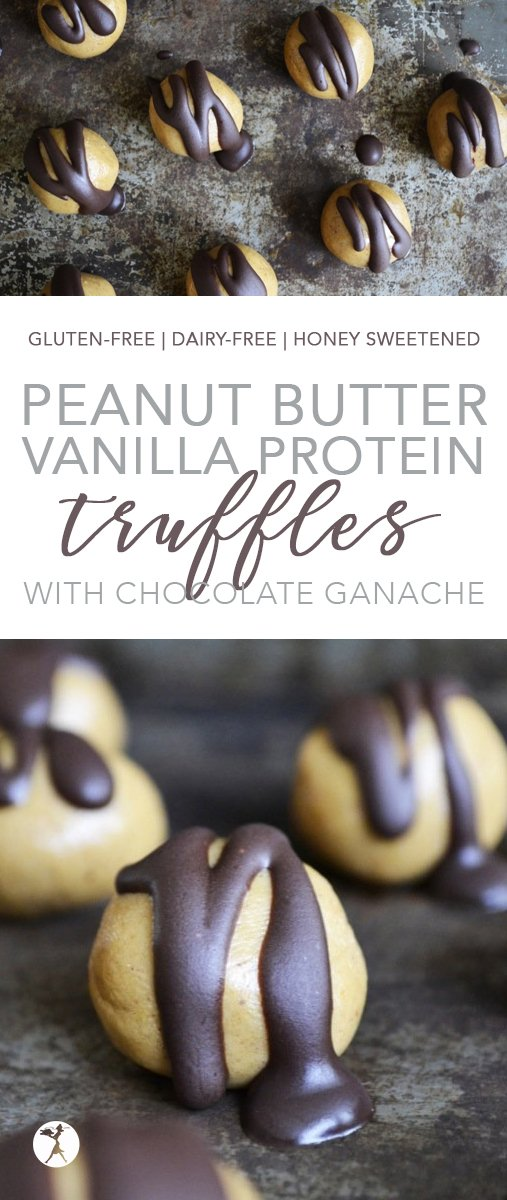 These Peanut Butter Vanilla Protein Truffles with Chocolate Ganache are the perfect treat. They're easy, decadent, and healthy and completely free from gluten, dairy, and refined sugar! #glutenfree #dairyfree #vegetarian #eggfree #refinedsugarfree #peanutbutter #protein #truffles #dessert