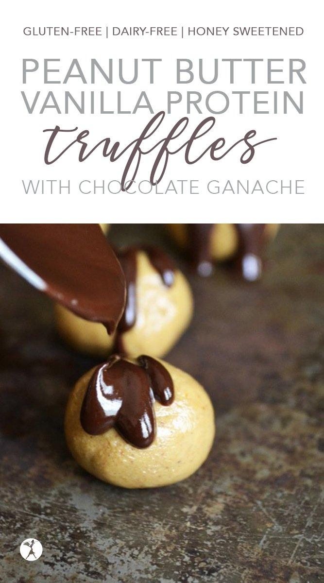 Gluten-Free Peanut Butter Protein Vanilla Truffles #glutenfree #dairyfree #vegetarian #eggfree #refinedsugarfree #peanutbutter #protein #truffles #dessert