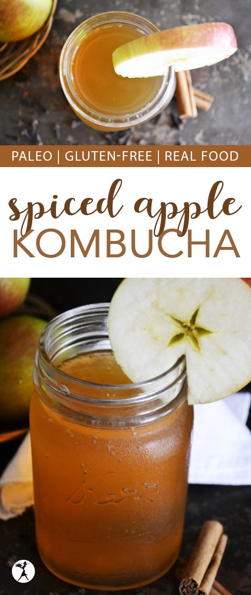Kombucha has long been touted as a probiotic-rich healthy alternative to soda or sweet tea. This Spiced Apple Kombucha packs the perfect fall-flavored punch! It's a delicious way to fill your with body with much needed nutrients. #paleo #drinks #fermented #kombucha #apples #spice #healthy