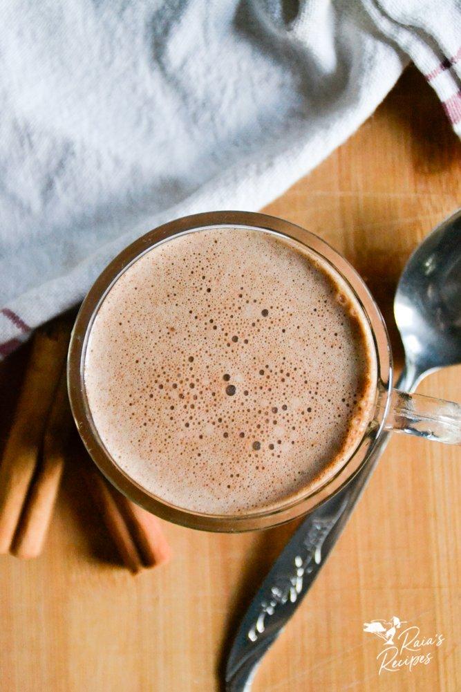 Top shot of spiced hot cocoa from raiasrecipes.com