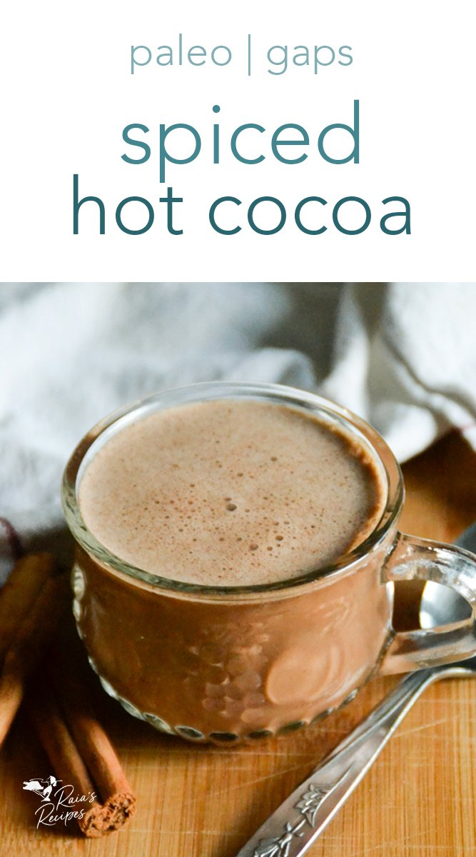 This less-traditional hot cocoa boasts subtle spices to kick the warmth up a notch. #nourishing #hotcocoa #spices #hotchocolate #drinks #cinnamon #ginger #nutmeg #cloves #paleo #glutenfree #dairyfree #gapsdiet