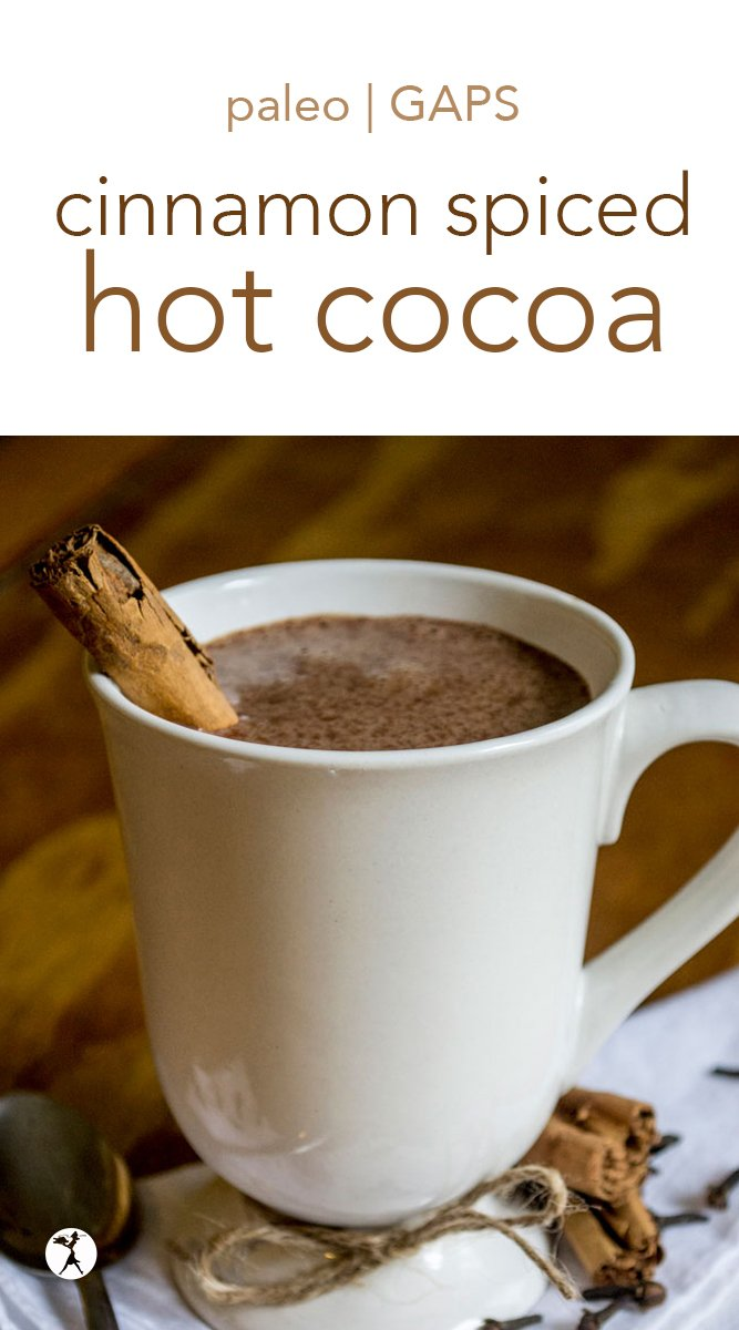 On chilly mornings and evenings, there's nothing like a cup of hot cocoa to warm you up. This less-traditional version boasts subtle spices to kick the warmth up a notch. #cinnamon #spice #hotcocoa #hotchocolate #drinks #paleo #dairyfree #gapsdiet