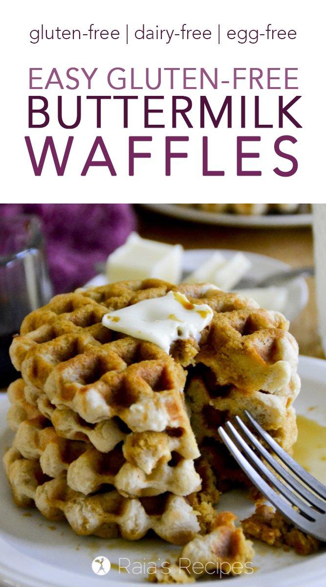Easy Gluten-Free Buttermilk Waffles #glutenfree #dairyfree #eggfree #vegan #realfood #waffles #breakfast #buttermilk