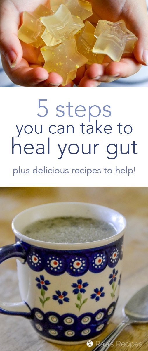 Allergies, digestive issues, chronic health problems got you down? Here are 5 steps you can take to heal your gut, along with recipes to help you on your way. #guthealth #healthyliving
