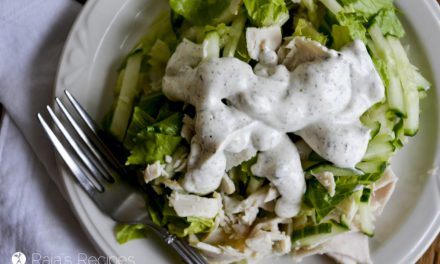 Simple Green Salad with Leftover Turkey and Homemade Ranch Dressing