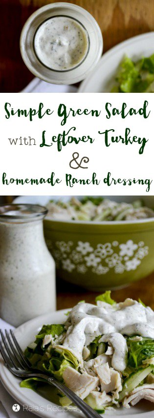 Easy and full of nutrition, this Simple Green Salad with Leftover Turkey and Homemade Ranch Dressing is a refreshing lunch or simple dinner. RaiasRecipes.com