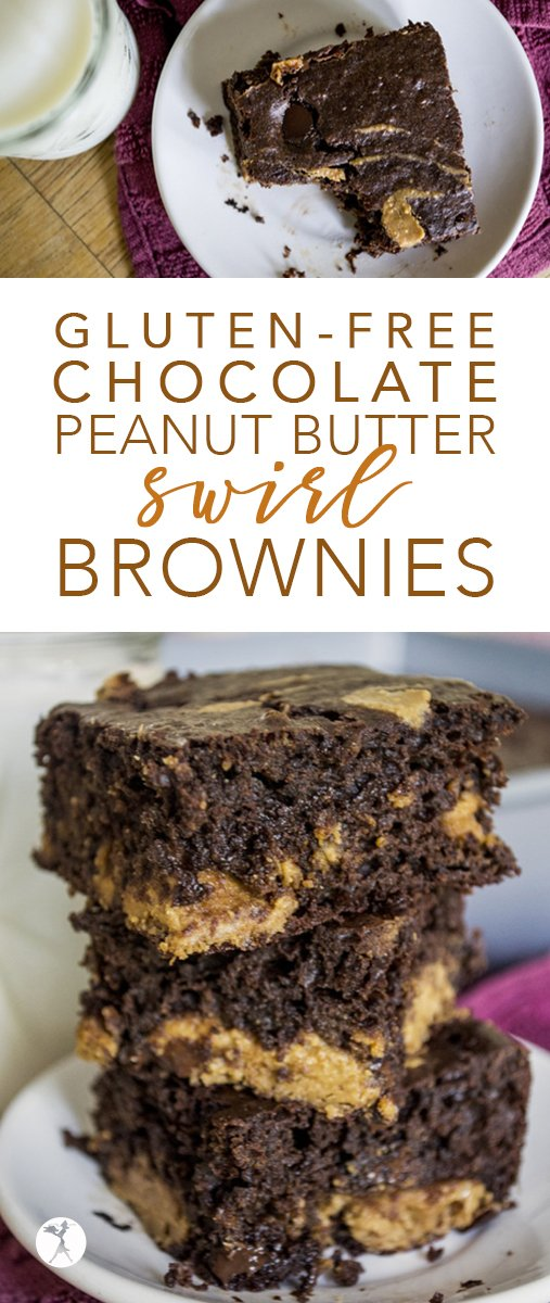 These gluten-free Chocolate Peanut Butter Swirl Brownies are wonderful combo of deliciously rich with a surprisingly healthy twist! #brownies #glutenfree #chocolate #peanutbutter #dessert #glutenfreedessert #glutenfreebrownies #buckwheat #healthier