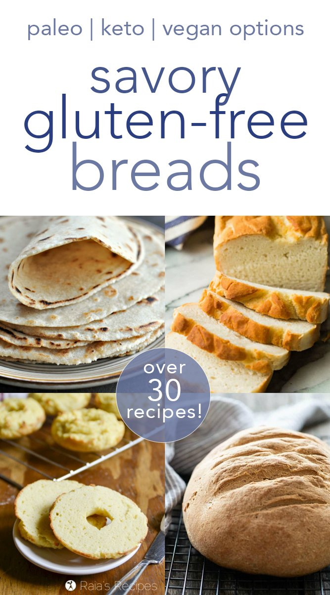 If you think being gluten-free means missing out on bread, think again! Here are over 30 delicious savory gluten free breads you can make at home. #bread #glutenfree #vegan #keto #lowcarb #paleo #savory #sandwiches #bagels #tortillas #rolls #breadsticks
