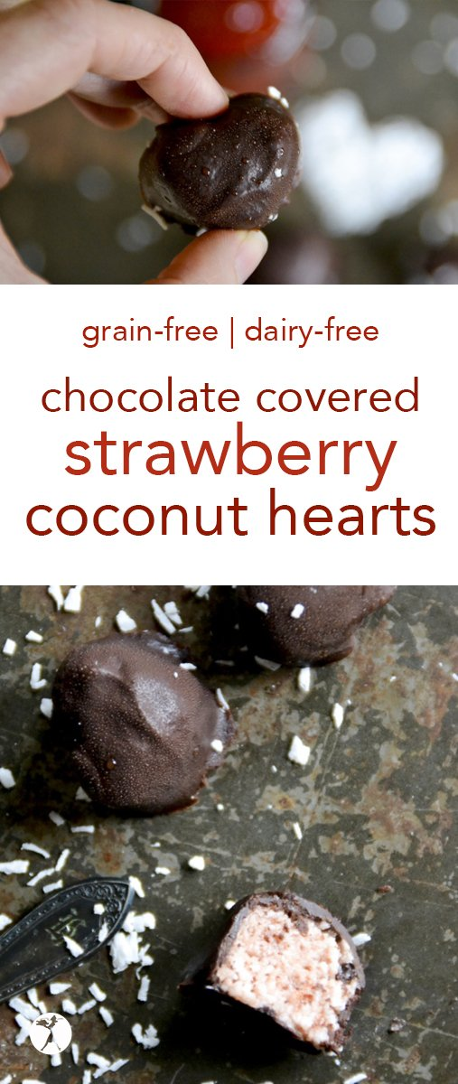 With only a few real-food ingredients, these gluten, egg, dairy, and refined sugar-free Chocolate Covered Strawberry Coconut Hearts are one candy you won't mind indulging on. #chocolate #strawberry #coconut #candy #healthy #dessert #grainfree #dairyfree #paleo