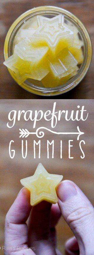 Full of vitamin C and probiotic goodness, these little Grapefruit Gummies are a healthy choice for snack time! RaiasRecipes.com