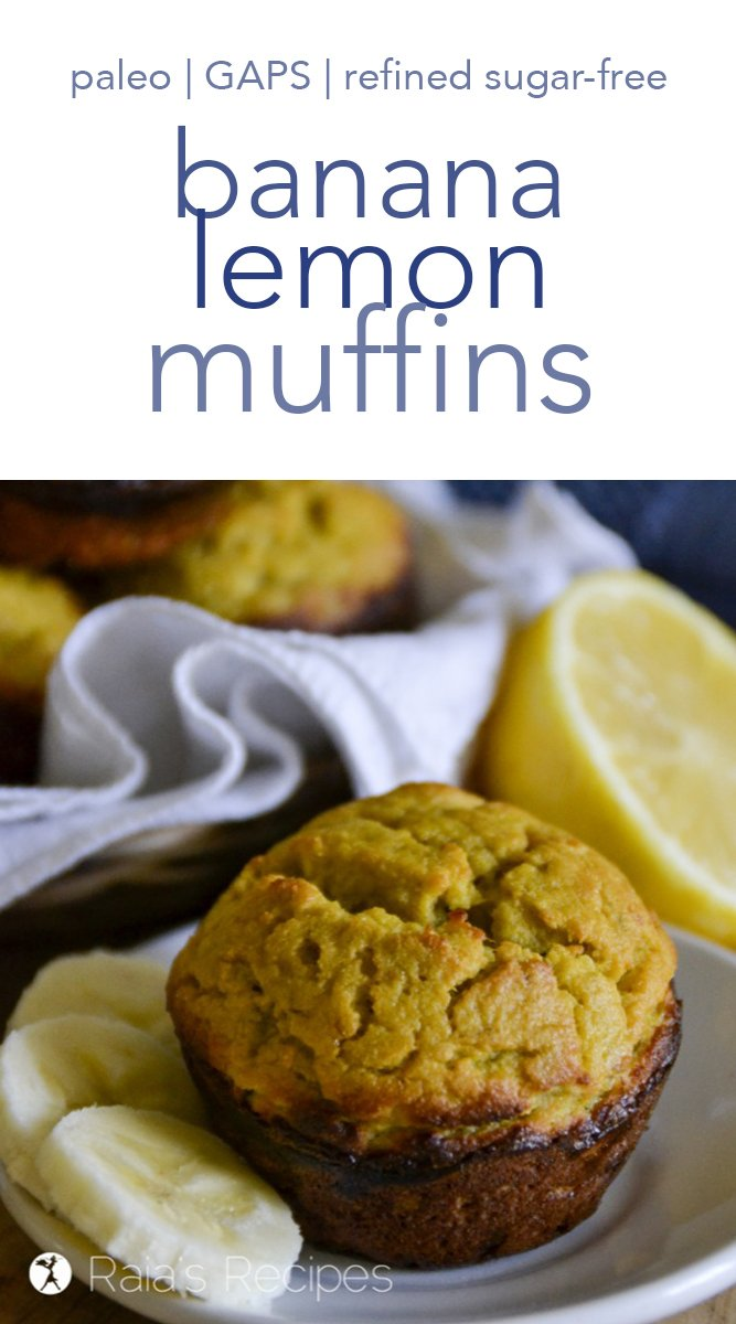 These paleo and GAPS-friendly Banana Lemon Muffins are an easy and delicious breakfast or snack. #paleo #gapsdiet #coconutflour #nutfree #banana #lemon #muffins #refinedsugarfree #breakfast #brunch #healthy