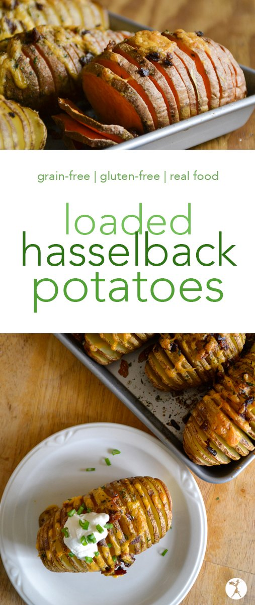 Perfectly baked and stuffed with all your favorite toppings, these Loaded Hasselback Potatoes are sure to become a favorite! #grainfree #glutenfree #potatoes #hasselbackpotatoes #dinner #maindish