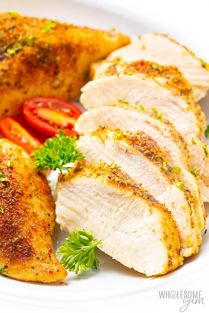 Juicy baked chicken from wholesome yum.