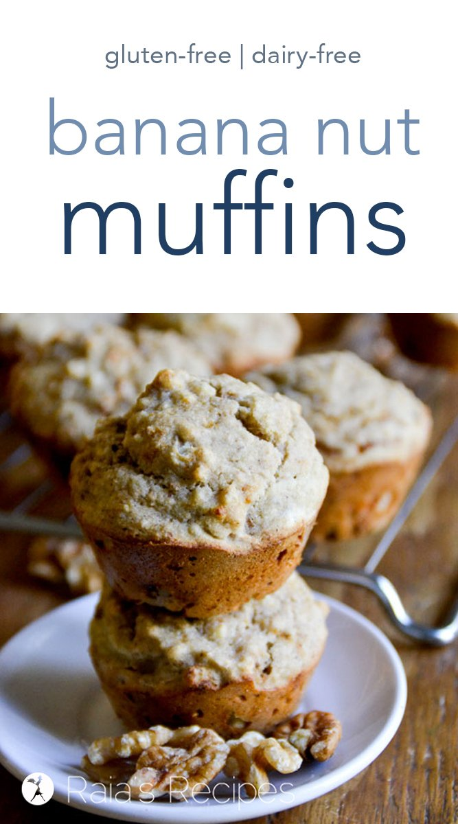 Packed with nutrition and perfectly sweet, these gluten, dairy, and refined-sugar free Banana Nut Muffins are just what you need to start the day off right.  #glutenfree #dairyfree #breakfast #banana #nut #muffins