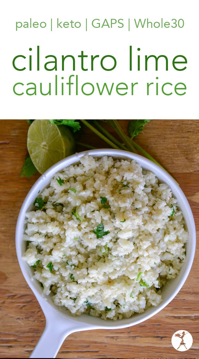 Enjoy Mexican food again with this quick and easy Chipotle-Style Cilantro Lime Cauli-Rice! #caulirice #cauliflowerrice #grainfree #keto #whole30 #lowcarb #keto #paleo #gapsdiet #cilantro #lime