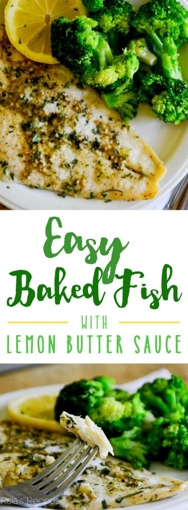 This Easy Baked Fish with Lemon Butter Sauce will have you feeling like a chef from the comfort of your kitchen! | RaiasRecipes.com