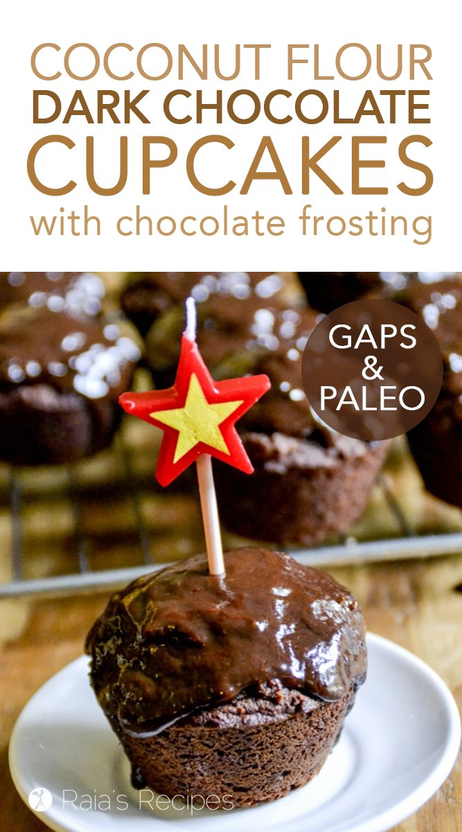 Dark Chocolate Cupcakes with Chocolate Frosting #gapsdiet #paleo #grainfree #dairyfree #refinedsugarfree #cupcakes #chocolate #darkchocolate #birthday #healthytreat