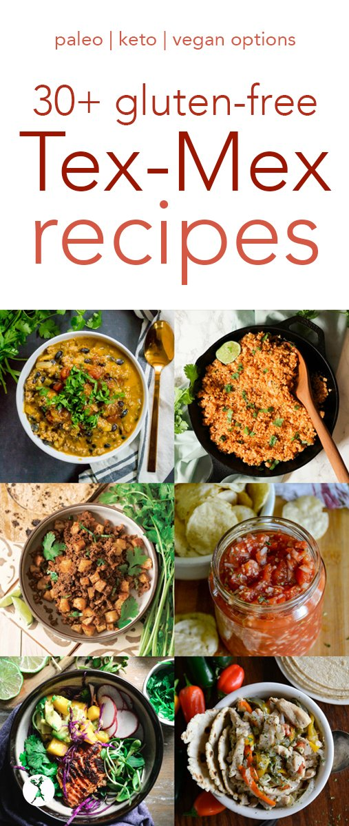Are you a fan of Mexican-style food? I've got you covered with over 30 gluten-free, paleo, keto, and vegan Tex-Mex recipes! #mexican #texmex #recipes #condiments #maindish #sides #beans #salsa #queso #tacos #tortillas #paleo #glutenfree #vegan #keto