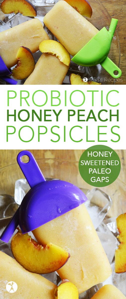 Need a healthy, delicious snack to cool your kiddos down? Give these paleo, naturally-sweetened, allergy-friendly Honey Peach Popsicles a try! #paleo #glutenfree #dairyfree #popsicles #honey #peach #kefir #summer #snack #minerals #magnesium #gapsdiet