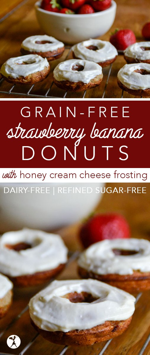 Need a delicious treat that shouts summer fun, but is still healthy? These grain-free, and refined sugar-free Strawberry Banana Donuts with Honey Cream Cheese Frostingare just the thing.