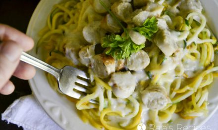 Summer Squash Zoodles with Chicken Sausage Alfredo Sauce