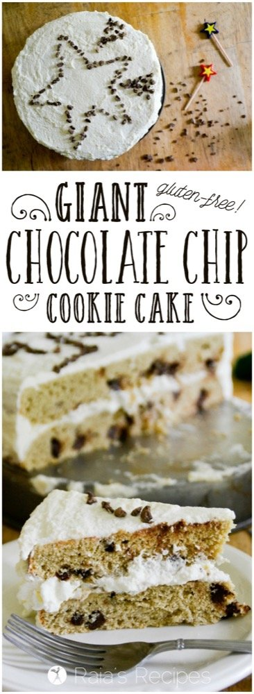If you like chocolate chip cookies, then you'll love this gluten-free Giant Chocolate Chip Cookie Cake with Whipped Cream Frosting! RaiasRecipes.com