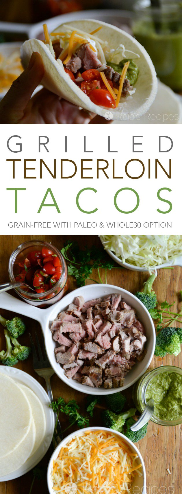 Nothing says summer like grilling, or tacos! These tender Grilled Tenderloin Tacos are made grain-free with jicama shells, and have a paleo & Whole30 option, too!