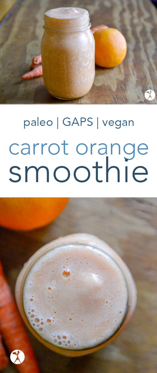 This simple, allergy-friendly, plant-based Carrot Orange Smoothie is a delicious and vitamin-packed way to start your day. Or use it to cool off during the summer heat! #smoothie #orange #carrot #glutenfree #paleo #gapsdiet #vegan