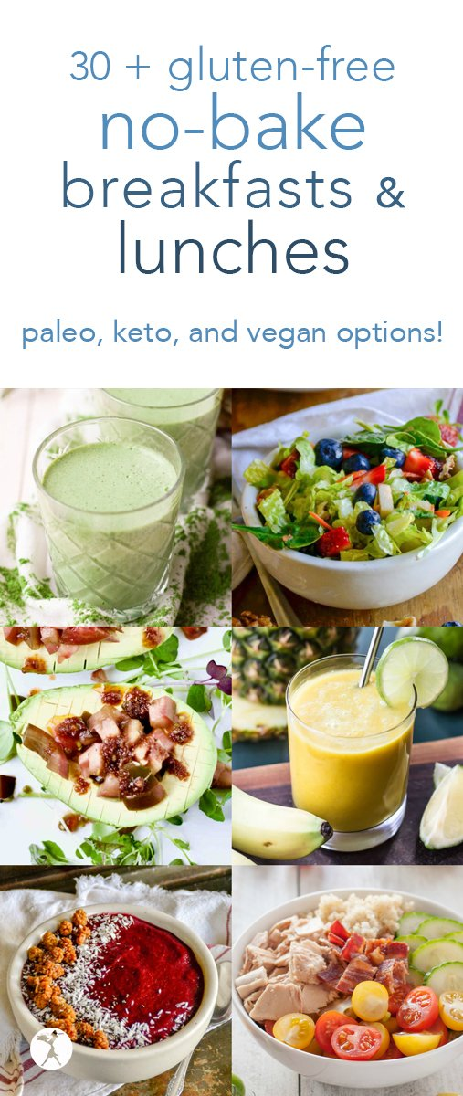 Too hot to cook? Check out these healthy no-bake breakfasts and lunches! All gluten-free, with grain-free with keto, paleo, and vegan options, as well! #nobake #healthy #glutenfree #breakfast #lunch #smoothie #smoothiebowl #fruit #veggies #vegan #paleo #keto #salad #wrap