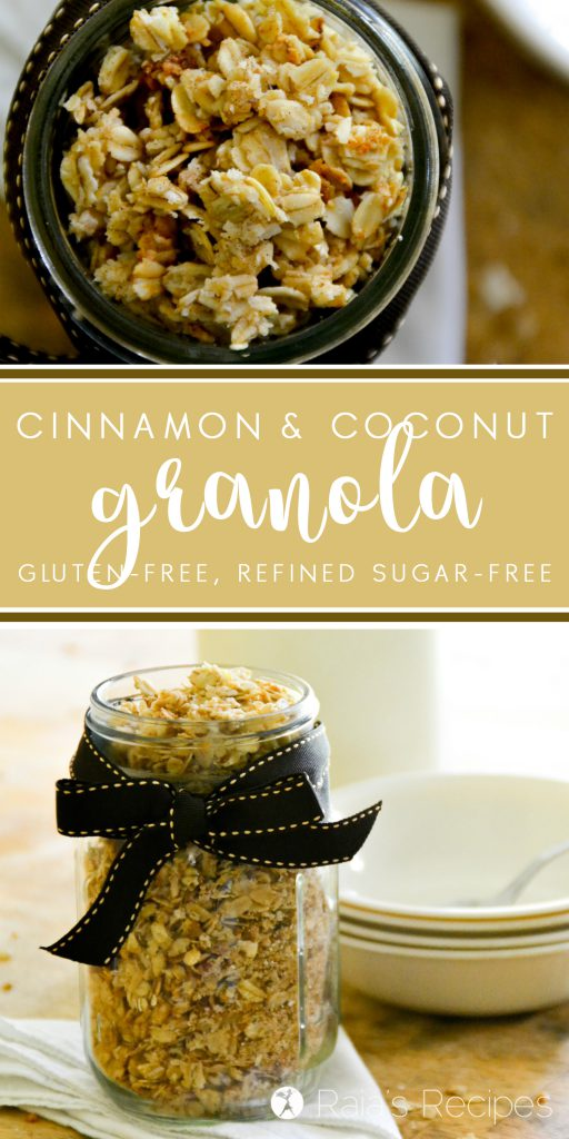 This easy, gluten-free Cinnamon Coconut Granola is one of my kiddos favorites. And it's easy enough that they can make it themselves! RaiasRecipes.com