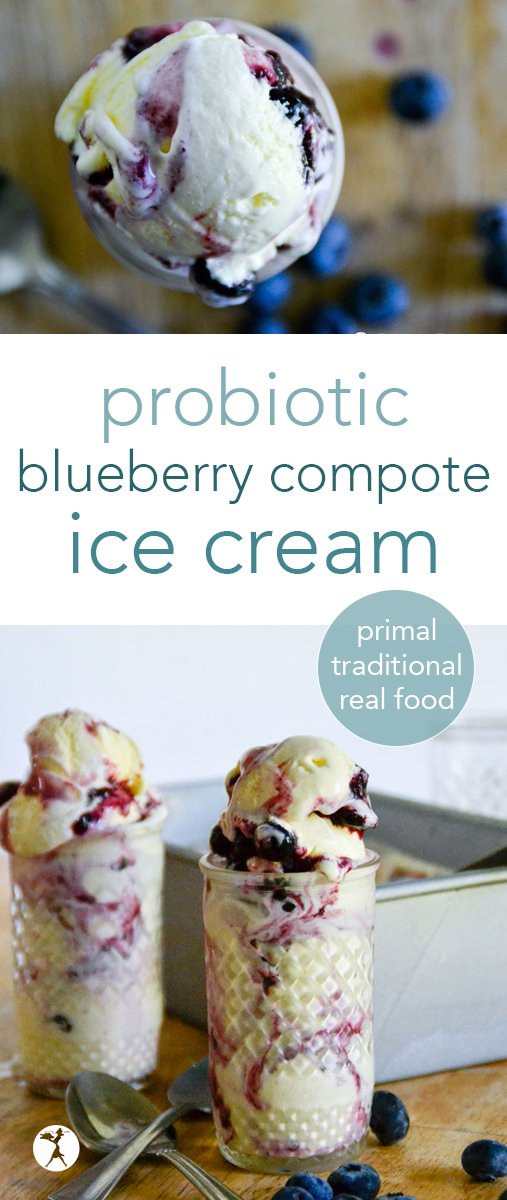The perfect blend of tangy and sweet, this blueberry compote ice cream is a wonderful, real-food treat full of probiotics! It fits great into primal and traditional diets. #blueberry #compote #icecream #realfood #glutenfree #probiotics #traditionalfood #dessert