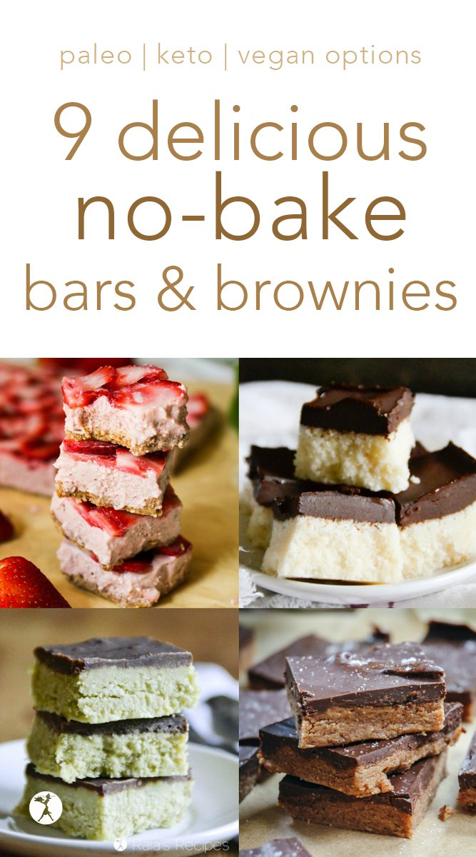 No-bake treats for the win! These healthy options will help you make it through the days you need a nourishing dessert, but don't feel like baking. #nobake #brownies #bars #dessert #glutenfree #paleo #vegan #keto