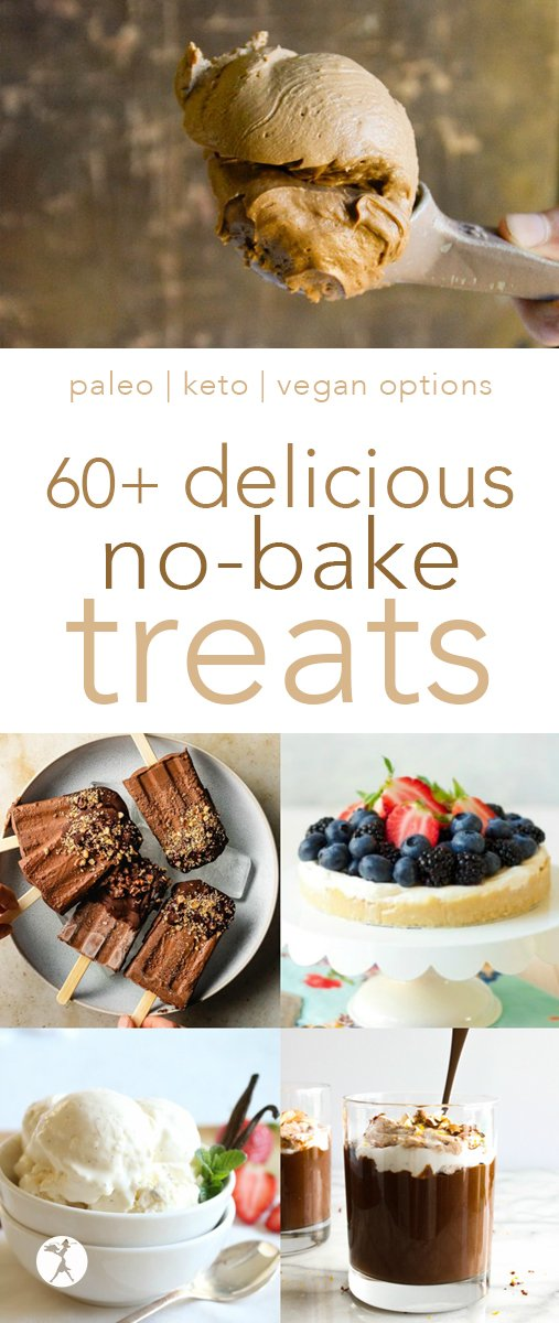 No-bake treats for the win! These healthy options will help you make it through the days you need a nourishing dessert, but don't feel like baking. #glutenfree #paleo #vegan #keto #nobake #dessert #chocolate #icecream #popsicle #healthy #treat