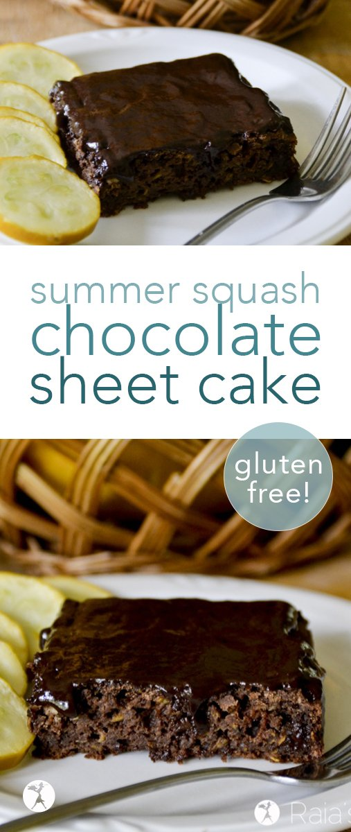 This easy, gluten-free, refined sugar-free summer squash chocolate sheet cake is a great way to use up all that squash your summer garden has been producing! #glutenfree #refinedsugarfree #chocolate #zucchini #summersquash #chocolatecake #cake #dessert