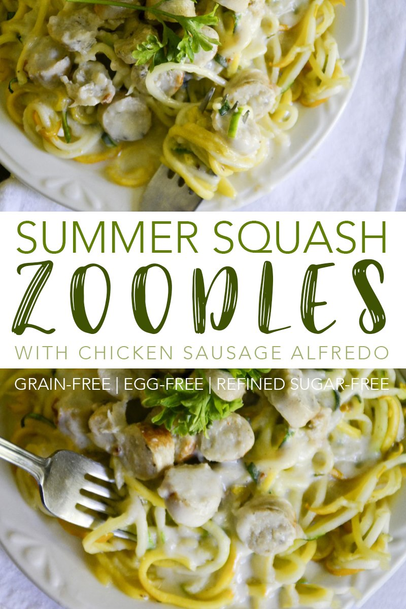 Enjoy pasta again with these grain-free Summer Squash Zoodles with Chicken Sausage Alfredo Sauce!